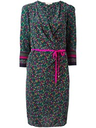 Vanessa Bruno Floral Print Wrap Dress Green