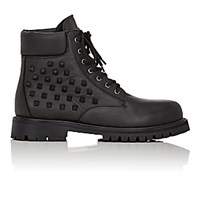 Valentino Men's Rockstud Leather Combat Boots Blue