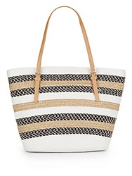 Saks Fifth Avenue Colorblock Paper Straw Tote