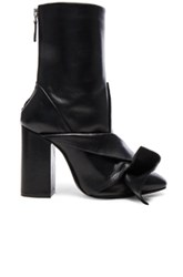 N 21 No. Leather Bow Boots In Black
