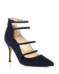 Ivanka Trump Dritz Suede Strappy Pointed Toe Mary Jane Pumps 100 Bloomingdale's Exclusive Dark Blue