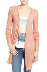 Junior Women's Volcom 'Ready To Go' Rib Knit Cardigan