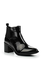 Lost Ink Aimon Mid Block Heel Ankle Boots Black