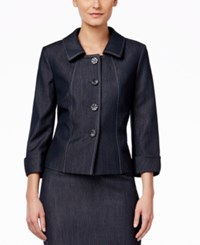 Tahari By Arthur S. Levine Tahari Asl Chambray Four Button Jacket Chambray Blue