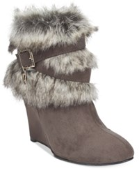 Thalia Sodi Saadie Faux Fur Trim Wedge Booties Only At Macy's Women's Shoes Charcoal