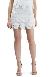 Topshop Petite Women's Cutwork Flower Lace Miniskirt White