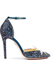 Charlotte Olympia Twilight Princess Satin Trimmed Glittered Leather Pumps Petrol