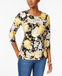 Jm Collection Floral Print Jacquard Top Only At Macy's Yellow Party Floral