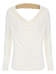Jane Norman Sequin Trim Cowl Back Top Ivory