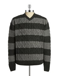 Weatherproof Vintage Striped Cableknit Sweater