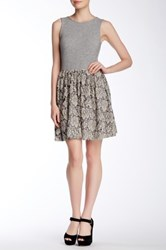 Everleigh Mixed Print Skater Dress Gray