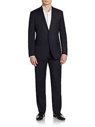 Saks Fifth Avenue Red Trim Fit Pinstripe Wool Suit Black Pinstripe