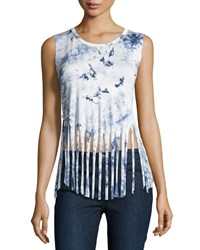 Romeo And Juliet Couture Tie Dye Fringe Hem Tank White Blue