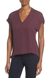 Pleione Women's High Low V Neck Mixed Media Top Burgundy Stem