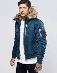 Schott Nylon Hooded Bomber Detatchable Faux Fur Trim Navy