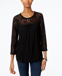 Cable And Gauge Lace Knit Peasant Top Black