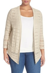 Plus Size Women's Lucky Brand Textured Cotton Open Front Cardigan
