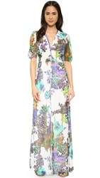 Mason By Michelle Mason Floral Print Button Front Gown Ivory
