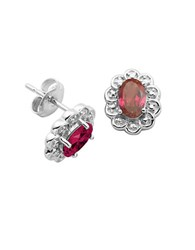 Lord And Taylor July Birthstone Sterling Silver Earrings Red