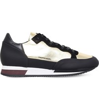 Phillip Model Panelled Metallic Leather Trainers Gold Comb