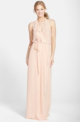 Women's Nouvelle Amsale Long Chiffon Wrap Dress Nude