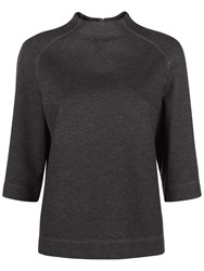 Jaeger Ponte Funnel Neck Top Charcoal