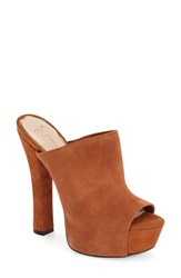 Women's Jessica Simpson 'Finnie' Open Toe Platform Mule New Luggage Suede