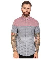 Original Penguin Short Sleeve Engineered Color Block Lawn Dark Sapphire Men's Short Sleeve Button Up Blue
