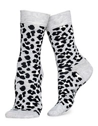 Happy Socks Leopard Crew White Black
