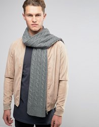 Selected Homme Scarf In Cable Knit Grey
