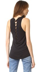 David Lerner Back Lace Muscle Tank Classic Black