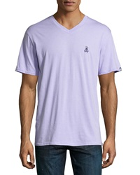 Psycho Bunny Classic Embroidered Logo V Neck Tee Lavender