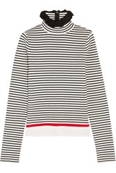 Msgm Ruffle Trimmed Striped Stretch Cotton Blend Top White
