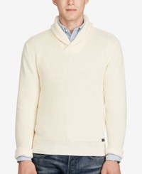 Polo Ralph Lauren Men's Shawl Collar Sweater Canvas White