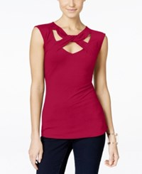 Inc International Concepts Cap Sleeve Cutout Top Only At Macy's Real Red