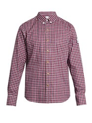 Moncler Gamme Bleu Long Sleeved Checked Cotton Shirt Red Multi