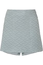 Theyskens' Theory Swick Quilted Cotton And Silk Blend Mini Skirt Blue