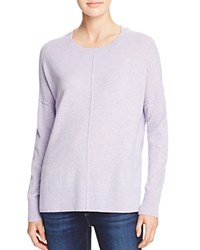 Aqua Cashmere Front Seam Drop Shoulder Cashmere Sweater Heather Iris