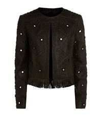 Elie Tahari Gavin Mirror Applique Leather Jacket Female Black