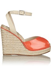 Oscar De La Renta Violet Patent Leather Wedge Sandals Orange
