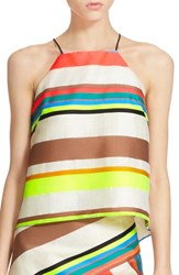 Women's Milly Fluorescent Stripe Camisole White Multi