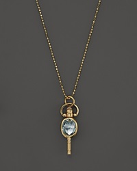 Monica Rich Kosann 18K Yellow Gold Mini Oval Pocketwatch Key Charm Necklace With Blue Topaz And Moonstone 18 Gold Multi