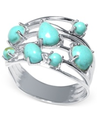 Macy's Manufactured Turquoise Multi Row Ring In Sterling Silver 1 5 8 Ct. T.W.