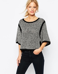 Shae 3 4 Wide Sleeve Cropped Jumper Blackcombo