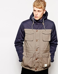 Wemoto Mountain Parka With Colour Block Navyblueolive