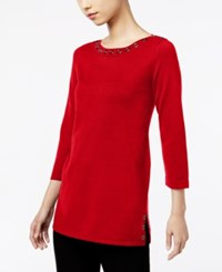 Cable And Gauge Grommet Sweater Scarlet Sage