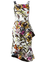 Oscar De La Renta Watercolour Sunflower Print Dress White