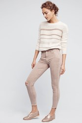 Anthropologie Mother Stunner High Rise Frayed Ankle Jeans Beige