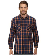 Pendleton L S Beach Shack Twill Shirt Navy Orange Plaid Men's Long Sleeve Button Up