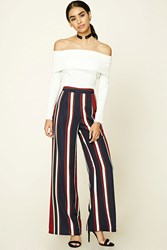 Forever 21 Striped Palazzo Pants Burgundy Navy